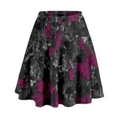 Magenta And Gray Decorative Art High Waist Skirt by Valentinaart