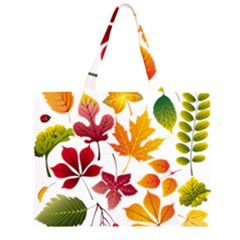 Beautiful Autumn Leaves Vector Large Tote Bag by Zeze