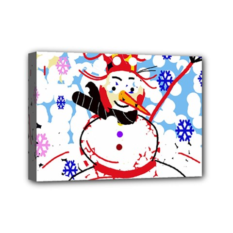 Snowman Mini Canvas 7  X 5  by Valentinaart