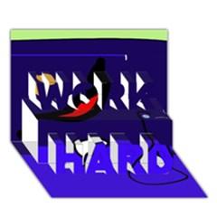 Night Duck Work Hard 3d Greeting Card (7x5) by Valentinaart