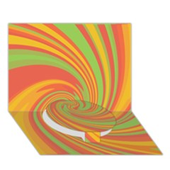 Green and orange twist Circle Bottom 3D Greeting Card (7x5) by Valentinaart