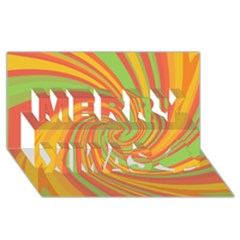 Green And Orange Twist Merry Xmas 3d Greeting Card (8x4) by Valentinaart