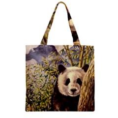 Panda Zipper Grocery Tote Bag by ArtByThree