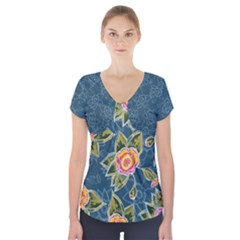 Floral Fantsy Pattern Short Sleeve Front Detail Top by DanaeStudio