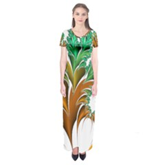 Colorful Fractal Feather Short Sleeve Maxi Dress