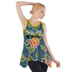 Floral Fantsy Pattern Side Drop Tank Tunic by DanaeStudio