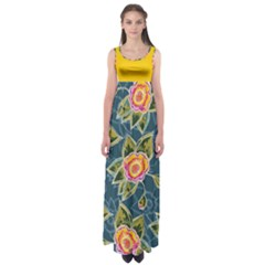 Floral Fantsy Pattern Empire Waist Maxi Dress by DanaeStudio