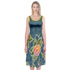 Floral Fantsy Pattern Midi Sleeveless Dress by DanaeStudio