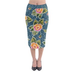 Floral Fantsy Pattern Midi Pencil Skirt by DanaeStudio