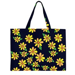 Daisy Flower Pattern For Summer Large Tote Bag by BubbSnugg