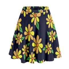 Daisy Flower Pattern For Summer High Waist Skirt by BubbSnugg