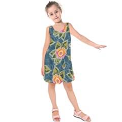 Floral Fantsy Pattern Kids  Sleeveless Dress by DanaeStudio