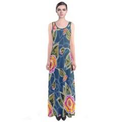 Floral Fantsy Pattern Sleeveless Maxi Dress by DanaeStudio