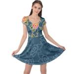 Floral Fantsy Pattern Cap Sleeve Dress