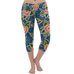 Floral Fantsy Pattern Capri Yoga Leggings by DanaeStudio