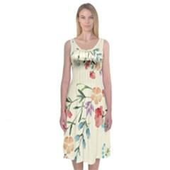 Pretty Wildflowers Midi Sleeveless Dress by Contest2502465
