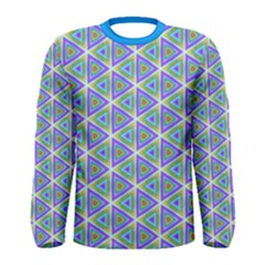 Colorful Retro Geometric Pattern Men s Long Sleeve Tee by DanaeStudio