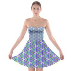 Colorful Retro Geometric Pattern Strapless Bra Top Dress by DanaeStudio