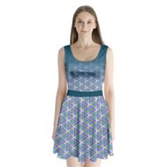 Ombre Retro Geometric Pattern Split Back Mini Dress  by DanaeStudio