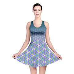 Ombre Retro Geometric Pattern Reversible Skater Dress by DanaeStudio