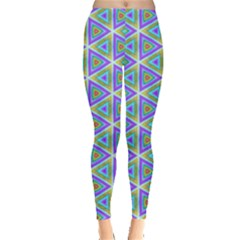 Colorful Retro Geometric Pattern Leggings  by DanaeStudio