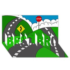 Hit The Road Best Bro 3d Greeting Card (8x4) by Valentinaart