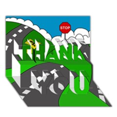 Hit The Road Thank You 3d Greeting Card (7x5) by Valentinaart