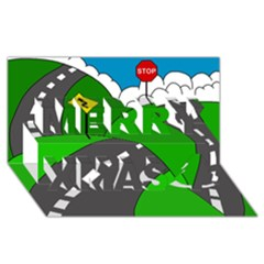 Hit The Road Merry Xmas 3d Greeting Card (8x4) by Valentinaart