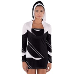 White and black abstraction Women s Long Sleeve Hooded T-shirt by Valentinaart