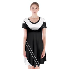 White and black abstraction Short Sleeve V-neck Flare Dress by Valentinaart