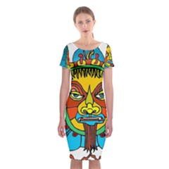 Abstract Mask Figure Traditional Classic Short Sleeve Midi Dress by Zeze
