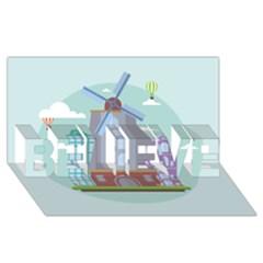 Amsterdam Landmark Landscape BELIEVE 3D Greeting Card (8x4) by Zeze