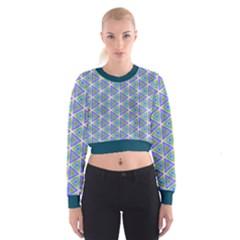 Colorful Retro Geometric Pattern Women s Cropped Sweatshirt by DanaeStudio