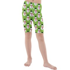 Christmas Snowman Green Background Kids  Mid Length Swim Shorts by Zeze