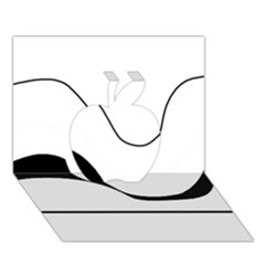 Waves   Black And White Apple 3d Greeting Card (7x5) by Valentinaart