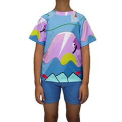 Under the sea Kids  Short Sleeve Swimwear by Valentinaart
