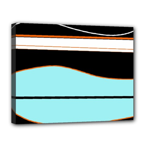 Cyan, Black And White Waves Canvas 14  X 11  by Valentinaart