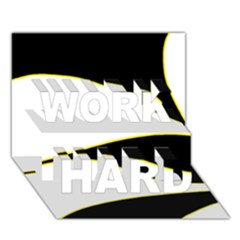 Yellow, black and white WORK HARD 3D Greeting Card (7x5)
