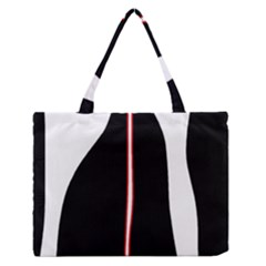 White, Red And Black Medium Zipper Tote Bag by Valentinaart