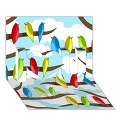 Parrots Flock I Love You 3d Greeting Card (7x5) by Valentinaart