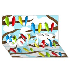 Parrots flock SORRY 3D Greeting Card (8x4) by Valentinaart