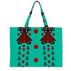 Dancing In Polka Dots Large Tote Bag by pepitasart