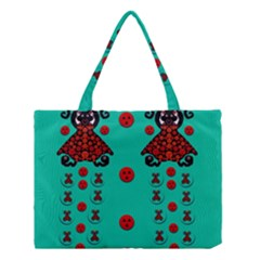 Dancing In Polka Dots Medium Tote Bag by pepitasart