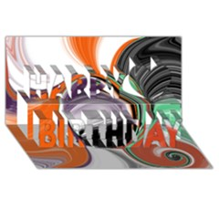 Abstract Orb In Orange, Purple, Green, And Black Happy Birthday 3d Greeting Card (8x4) by theunrulyartist
