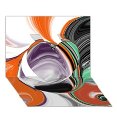 Abstract Orb In Orange, Purple, Green, And Black Heart 3d Greeting Card (7x5) by theunrulyartist