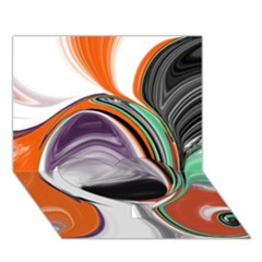 Abstract Orb In Orange, Purple, Green, And Black Heart Bottom 3d Greeting Card (7x5) by theunrulyartist