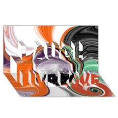 Abstract Orb In Orange, Purple, Green, And Black Laugh Live Love 3d Greeting Card (8x4) by theunrulyartist
