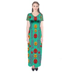 Pumkins Dancing In The Season Pop Art Short Sleeve Maxi Dress by pepitasart