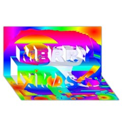 Abstract Color Dream Merry Xmas 3d Greeting Card (8x4) by icarusismartdesigns