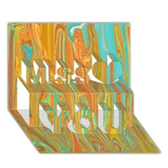 Beautiful Abstract In Orange, Aqua, Gold Miss You 3d Greeting Card (7x5) by theunrulyartist